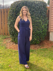 Walk My Way Jumpsuit in Navy - The Ivy Exchange