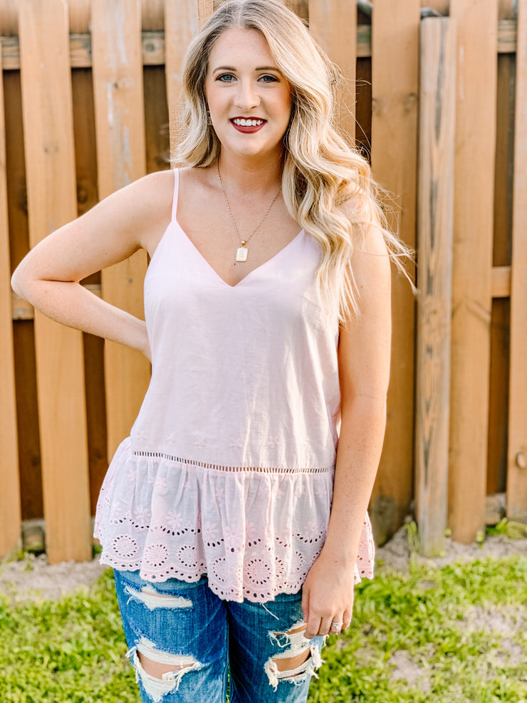 Pretty Please Eyelet Tank - The Ivy Exchange