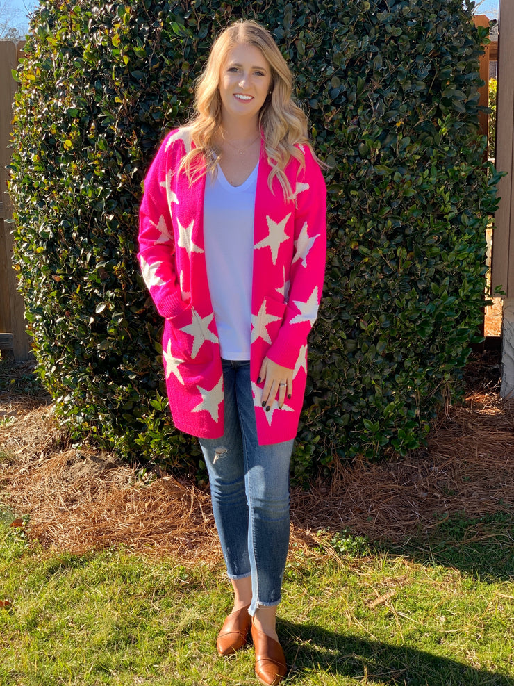 Star Struck Cardi in Pink - The Ivy Exchange