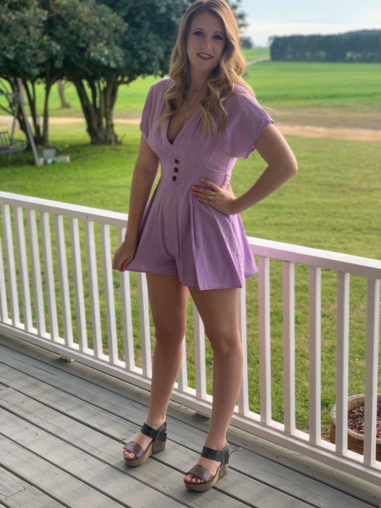 Stop for Nothing Romper in Lavender - The Ivy Exchange