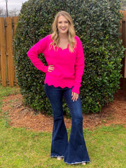 Hot in Pink Scalloped Edge Sweater - The Ivy Exchange