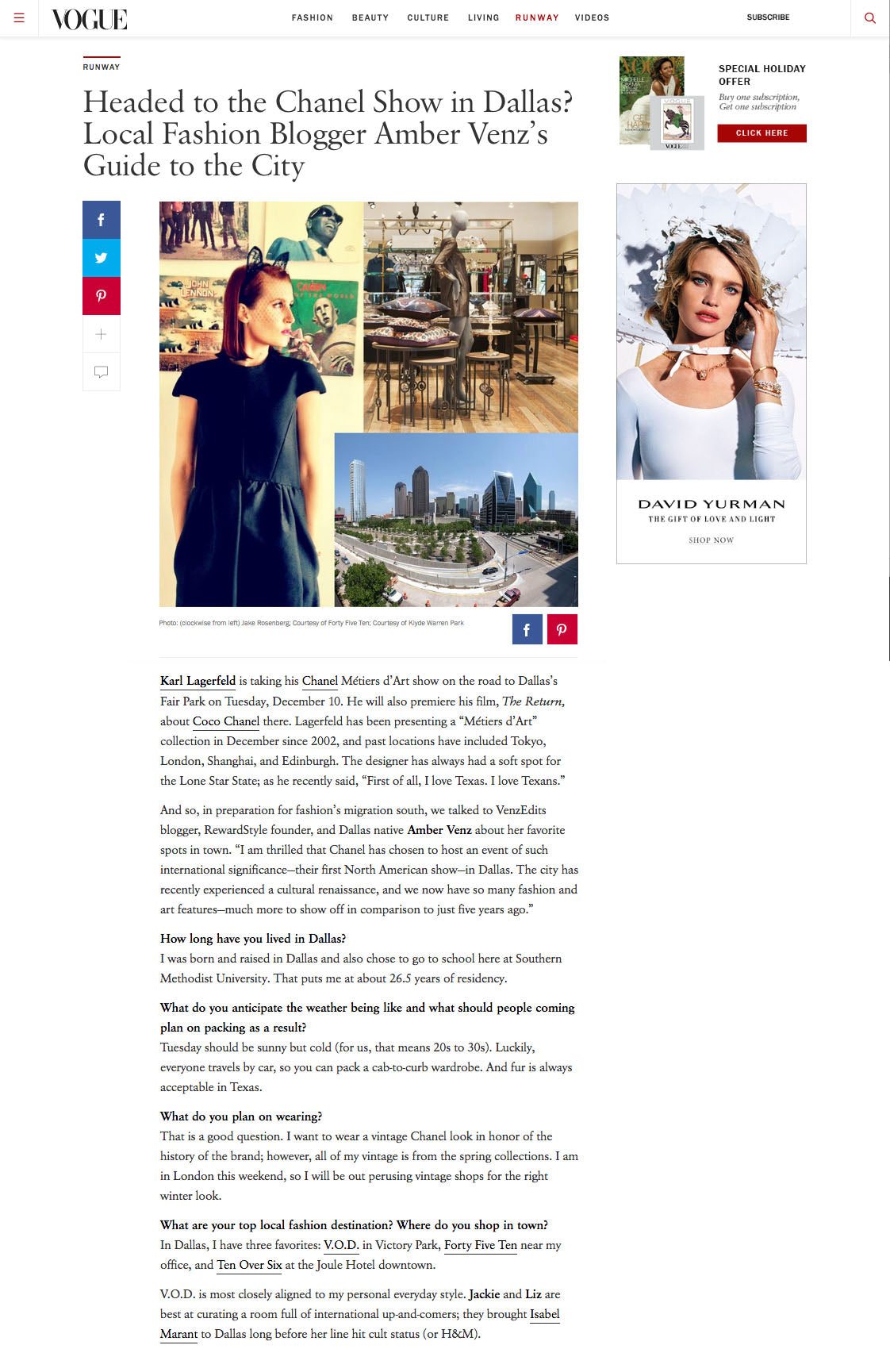 Vogue: Dallas Blogger Amber Venz Names TenOverSix Favorite Dallas Boutique
