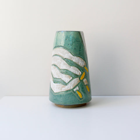 Lady Fingers Cone Vase, Green/Yellow