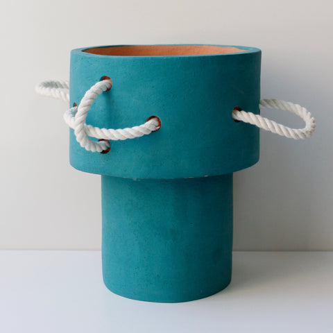 Tall White Rope Vase, Teal