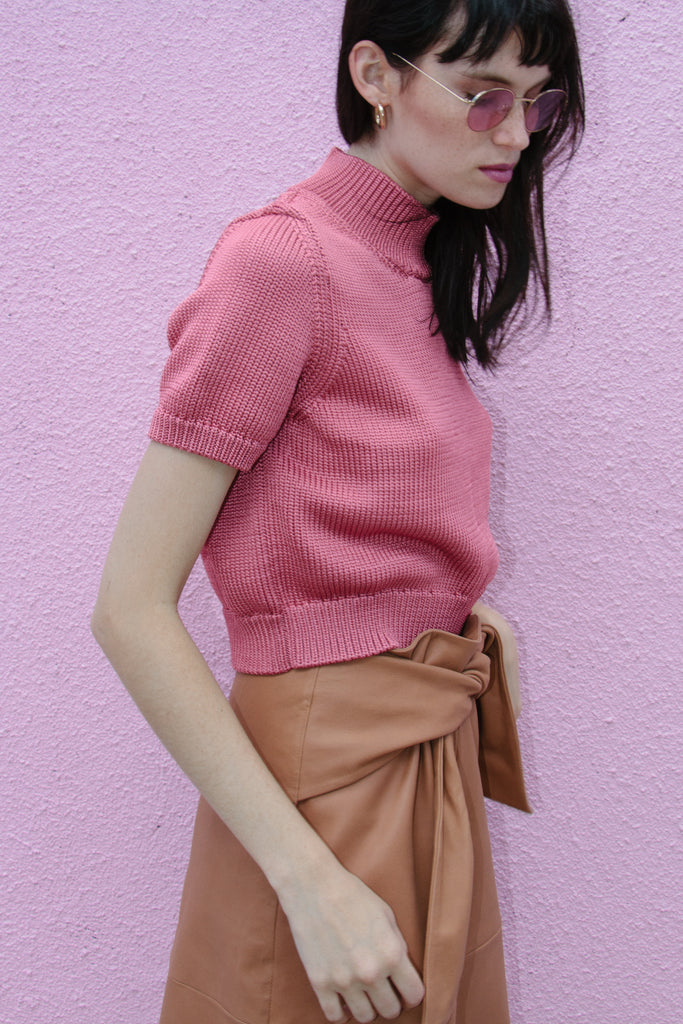 Crop Sweater Tee, Pink