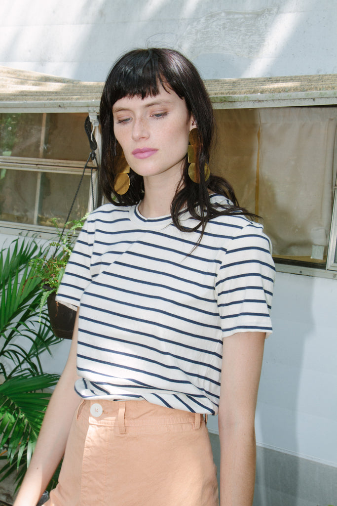 Rampling Tee, Natural/Navy Stripe