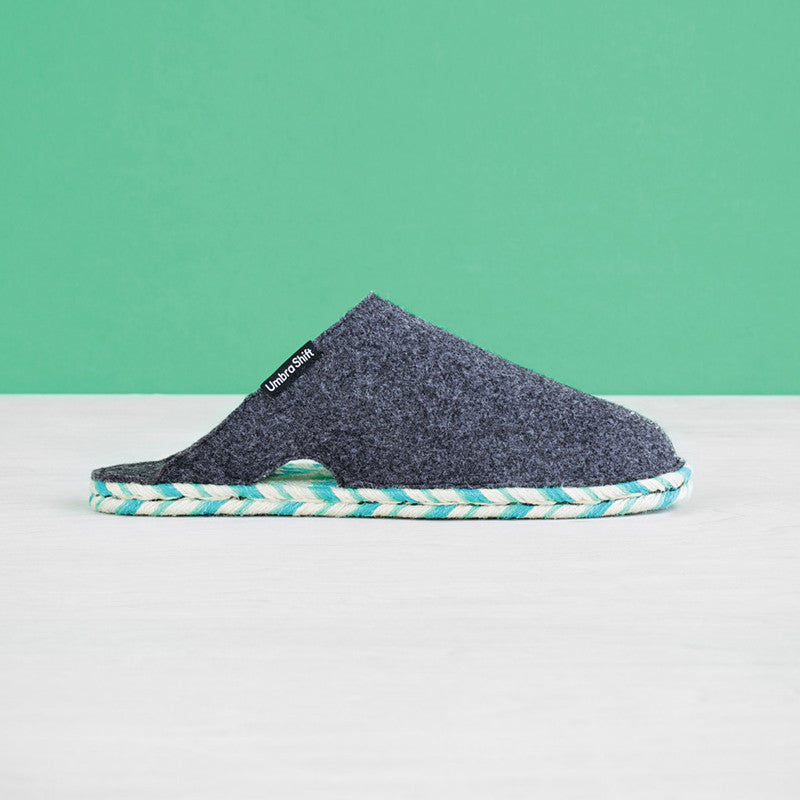 Felt House Slippers, Grey