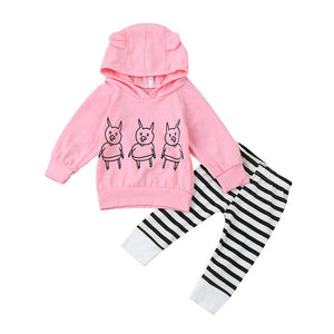 Infant Baby Newborn Toddler Girls Pink Hooded Tops Pants 2 Pcs Outfits Clothes Clothing, Shoes & Accessories Baby & Toddler Clothing