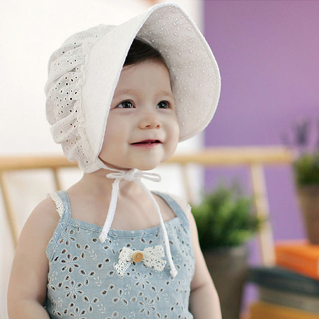 03eed520 ... Spring Cap Summer Sweet Princess Hollow Baby Girls Hat Lace-up Beanie  Cotton Bonnet Enfant ...