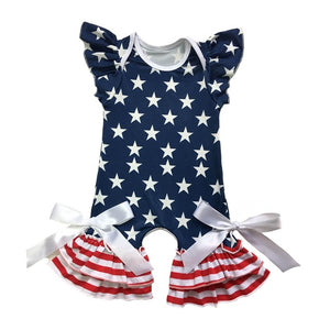 2d85aa52a5dc Baby Clothes 4th of July Romper Puff Sleeve Red White Strip Clothing ...