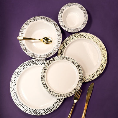 Plastic Plate - Pebbled Gold - 7.5 Inch
