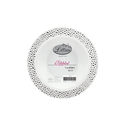 Plastic Bowl -  14 oz. - Pebbled Silver