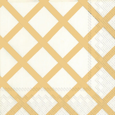 Beverage Napkin - Quilt Gold - 20 Count