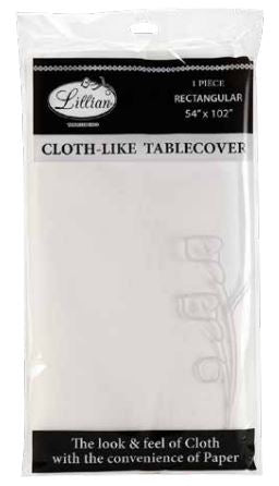 "Paper Tablecloth - 54"" x 102"" - White - 1 Count"