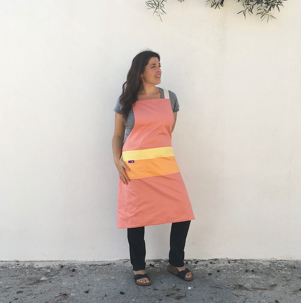 Apron Scandinavian design citrus, No ties