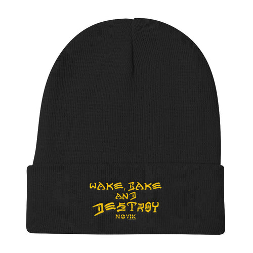 Wake Bake and Destroy Knit Beanie