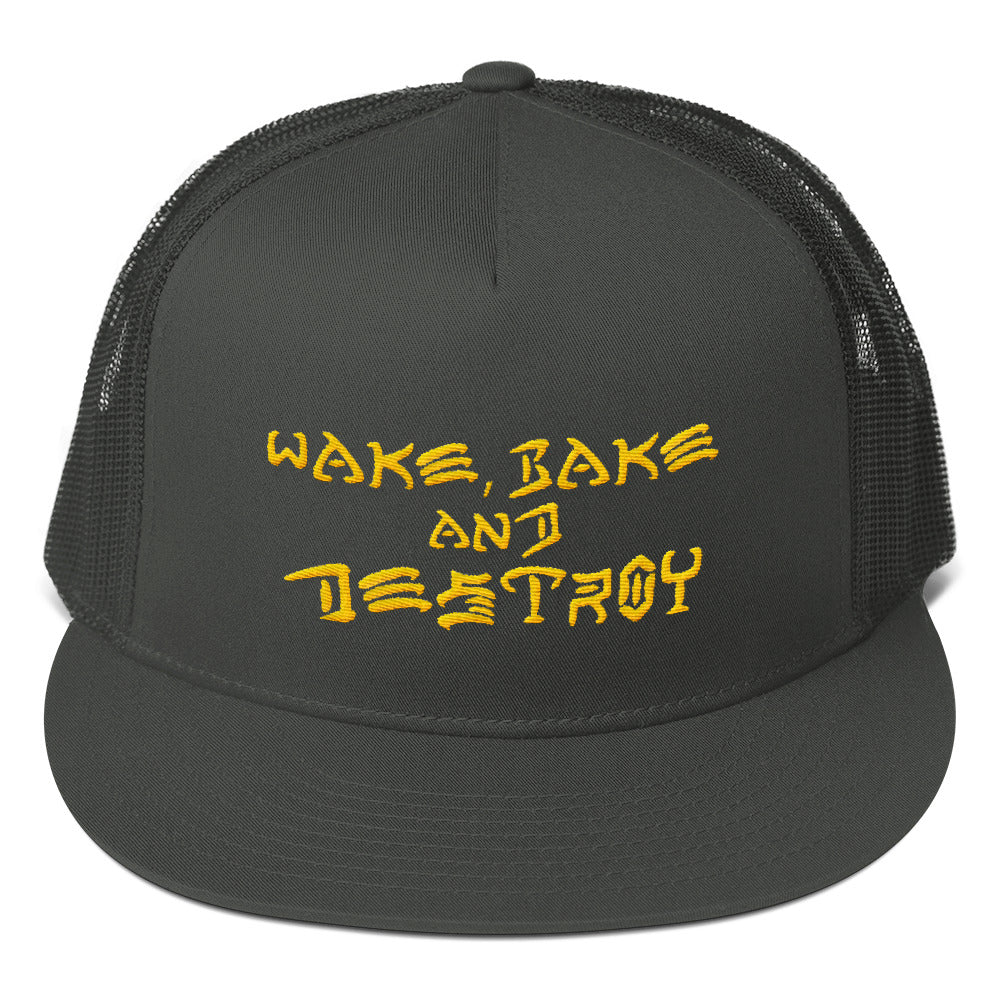 Wake Bake and Destroy: Mesh Back Snapback
