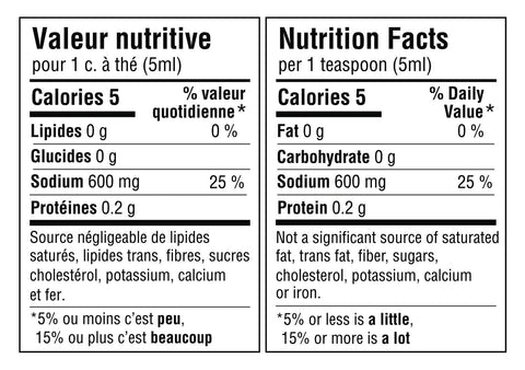 Tableau de valeur nutritive pour 1 cuillère à thé ou 5ml du mélange: 5 calories, 0g de lipides, 0g de glucides, 600mg de sodium (25% de la valeur quotidienne) et 0.2g de protéines. Source négligeable de lipides saturés, lipides trans, sucres, cholestérol, potassium, calcium et fer. Nutritional fact table for 1 teaspoon or 5ml of the blend: 5 calories, 0g of fat, 0g of carbohydrate, 600mg of sodium (25% daily value) and 0.2g of protein. Not a significant source of saturated fat, trans fats, sugars, cholesterol, potassium, calcium or iron.
