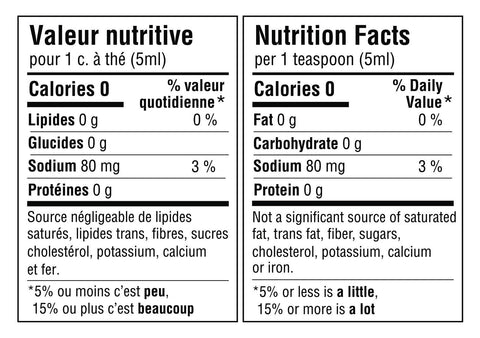 Tableau de valeur nutritive pour 1 cuillère à thé ou 5ml du mélange: 0 calories, 0g de lipides, 0g de glucides, 80mg de sodium (3% de la valeur quotidienne) et 0g de protéines. Source négligeable de lipides saturés, lipides trans, sucres, cholestérol, potassium, calcium et fer. Nutritional fact table for 1 teaspoon or 5ml of the blend: 0 calories, 0g of fat, 0g of carbohydrate, 80mg of sodium (3% daily value) and 0g of protein. Not a significant source of saturated fat, trans fats, sugars, cholesterol, potassium, calcium or iron.