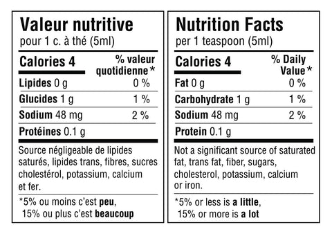 Tableau de valeur nutritive pour 1 cuillère à thé ou 5ml du mélange: 4 calories, 0g de lipides, 1g de glucides (1% de la valeur quotidienne), 48mg de sodium (2% de la valeur quotidienne) et 0.1g de protéines. Source négligeable de lipides saturés, lipides trans, sucres, cholestérol, potassium, calcium et fer. Nutritional fact table for 1 teaspoon or 5ml of the blend: 4 calories, 0g of fat, 1g of carbohydrate (1% daily value), 48mg of sodium (2% daily value) and 0.1g of protein. Not a significant source of saturated fat, trans fats, sugars, cholesterol, potassium, calcium or iron.