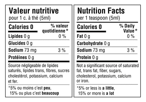 Tableau de valeur nutritive pour 1 cuillère à thé ou 5ml du mélange: 0 calories, 0g de lipides, 0g de glucides, 73mg de sodium (3% de la valeur quotidienne) et 0g de protéines. Source négligeable de lipides saturés, lipides trans, sucres, cholestérol, potassium, calcium et fer. Nutritional fact table for 1 teaspoon or 5ml of the blend: 0 calories, 0g of fat, 0g of carbohydrate, 73mg of sodium (3% daily value) and 0g of protein. Not a significant source of saturated fat, trans fats, sugars, cholesterol, potassium, calcium or iron.