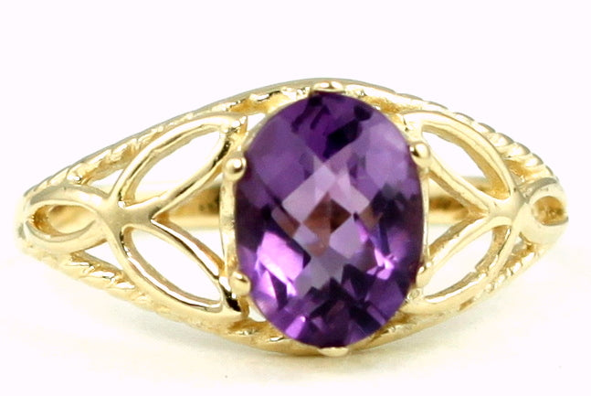AMETHYST 10k Yellow Gold Ladies Ring - Handmade • R137