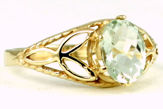 GREEN AMETHYST 10k Yellow Gold Ladies Ring - Handmade • R137