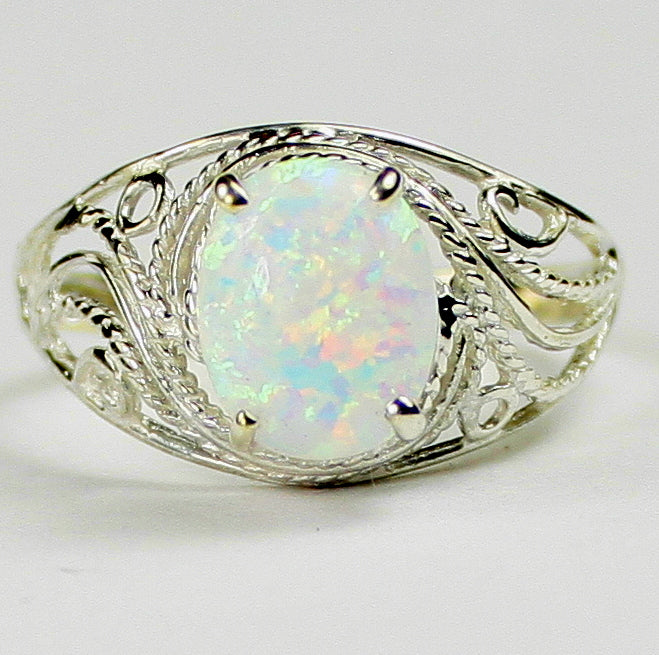 Created White Opal Sterling Silver Ladies Ring •SR083
