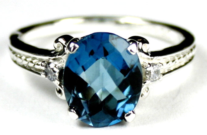 London Blue Topaz Sterling Silver Ladies Ring w/CZ Accents •SR136