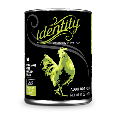 Identity 95% Free-Range Cobb Chicken & Chicken Broth Pate Dog Food, 13 oz can