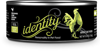 Identity 95% Free-Range Cobb Chicken & Chicken Broth Pate Cat Food, 5.5 oz can (24 per case)