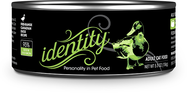 Identity 95% Free-Range Canadian Duck & Duck Broth Pate Cat Food, 5.5 oz can (24 per case)