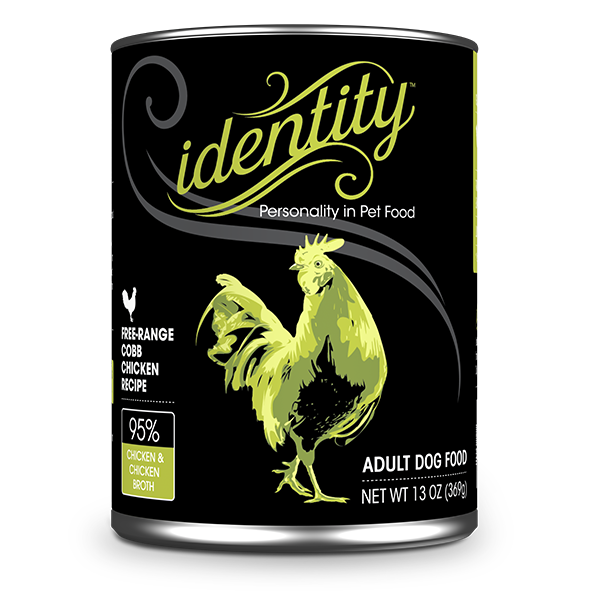 Identity 95% Free-Range Cobb Chicken & Chicken Broth Pate Dog Food, 13 oz can (12 per case)