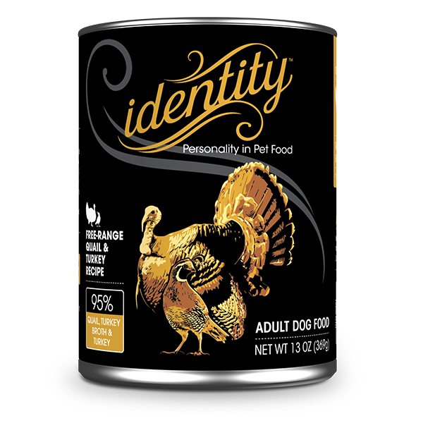 Identity 95% Free-Range Quail, Turkey Broth & Turkey Pate Dog Food, 13 oz can (12 per case)
