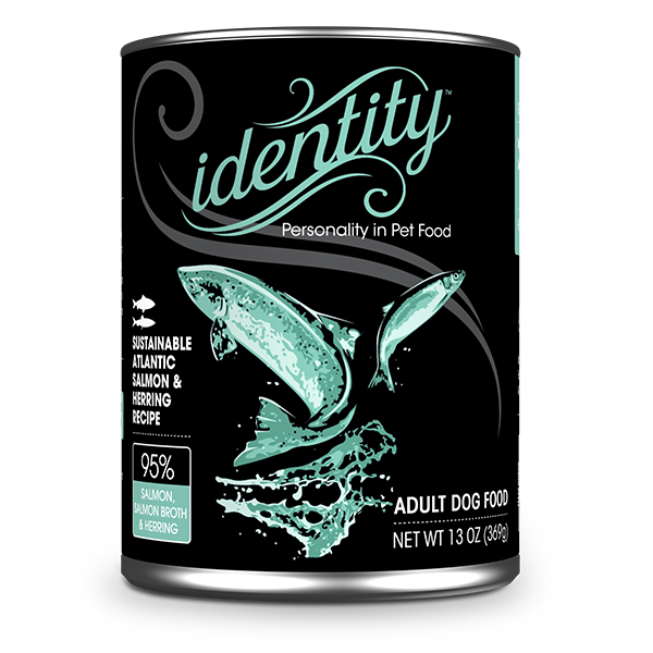 Identity 95% Sustainable Atlantic Salmon, Salmon Broth & Herring Pate Dog Food, 13 oz can (12 per case)