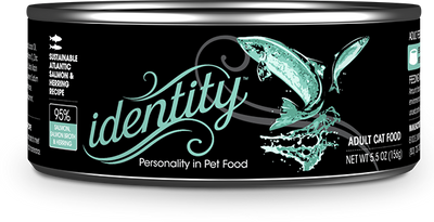 Identity 95% Sustainable Atlantic Salmon, Salmon Broth & Herring Pate Cat Food, 5.5 oz can (24 per case)