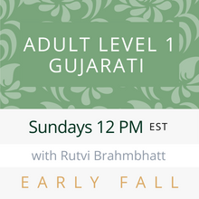 Load image into Gallery viewer, Live Gujarati Classes (Early Fall 2020)--(Level 1) Sundays 1pm EST--Krupa Ruparel Teacher