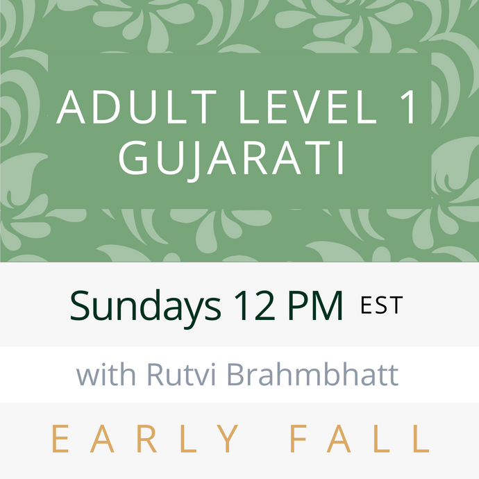 Live Gujarati Classes (Early Fall 2020)--(Level 1) Sundays 1pm EST--Krupa Ruparel Teacher