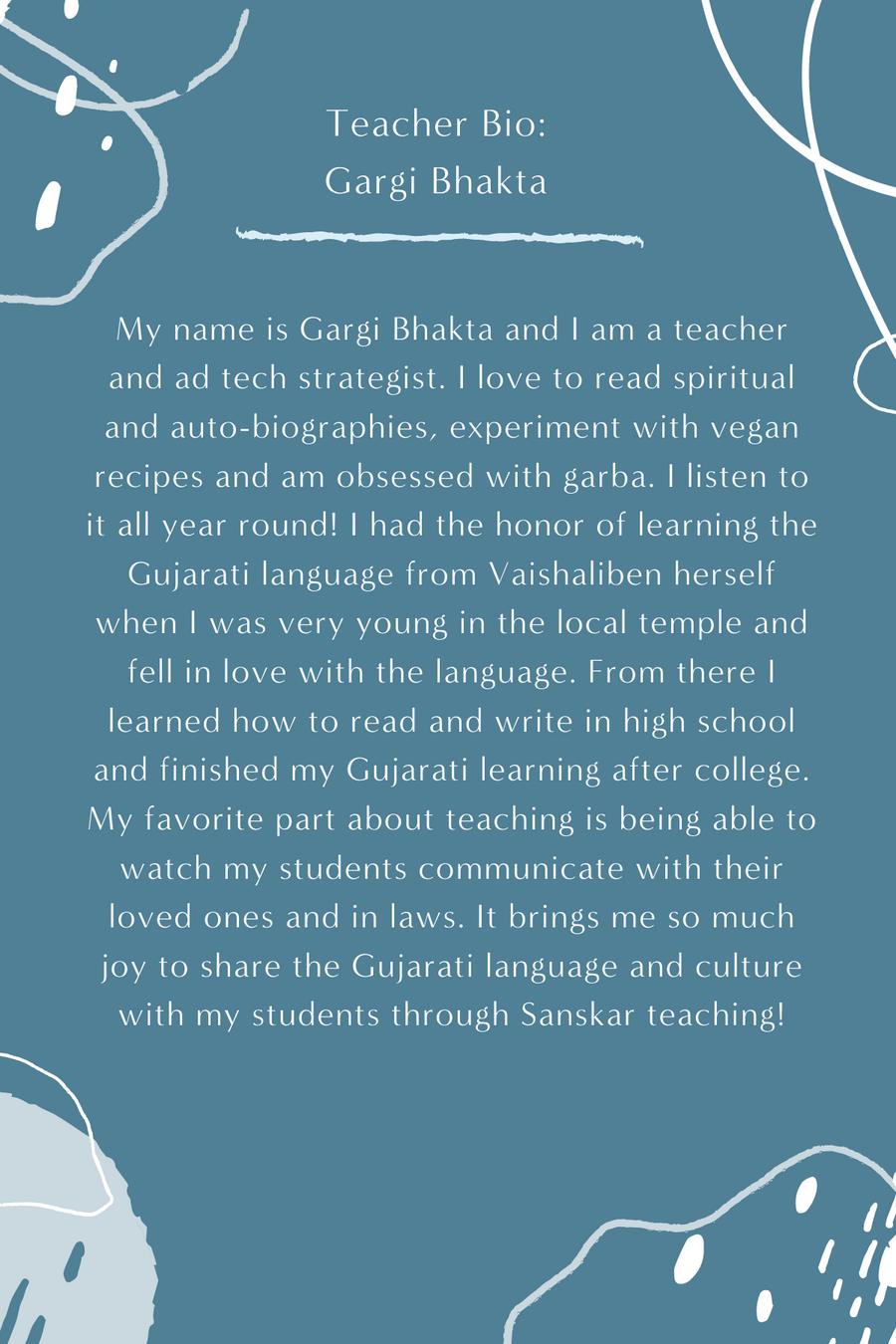 Gujarati KIDS LEVEL 1 with Gargi Bhakta (Saturdays 11am EST) (Late Spring)