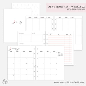 QTR 1 Monthly + Weekly 2.0 Pink - A5 Wide Rings