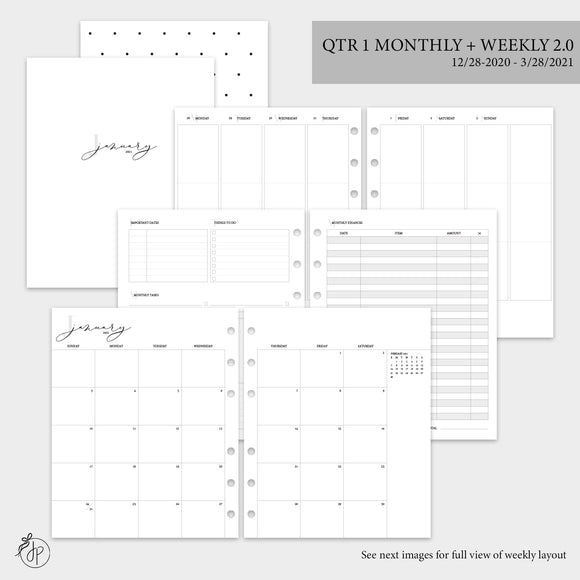 QTR 1 Monthly + Weekly 2.0 - A5 Wide Rings