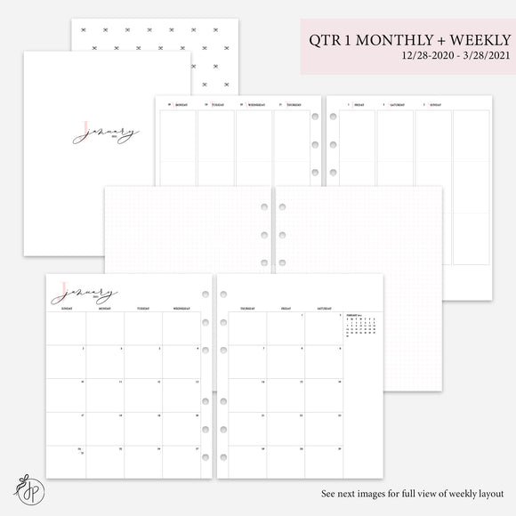 QTR 1 Monthly + Weekly Pink - A5 Wide Rings