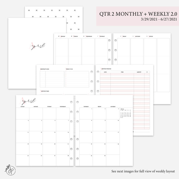 QTR 2 Monthly + Weekly 2.0 Pink - A5 Wide Rings
