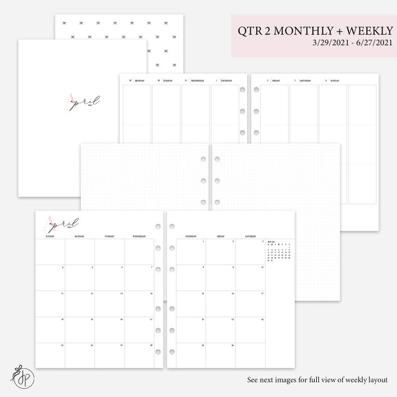 QTR 2 Monthly + Weekly Pink - A5 Wide Rings