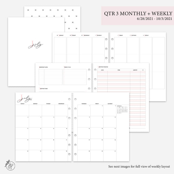 QTR 3 Monthly + Weekly 2.0 Pink - A5 Wide Rings