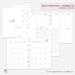 QTR 3 Monthly + Weekly 2.0 Pink - A5 Rings