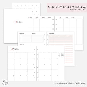 QTR 4 Monthly + Weekly 2.0 Pink - A5 Wide Rings