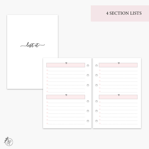 4 Section Lists Pink - A6 Rings