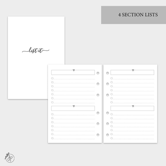 4 Section Lists - A6 Rings