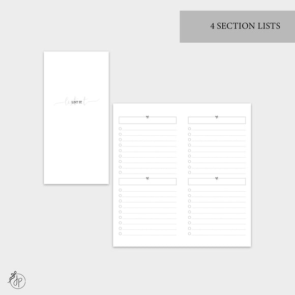 4 Section Lists - Hobo TN